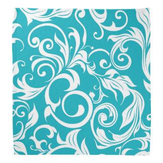 Lenço Teste padrão azul do papel de parede floral da
