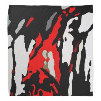 Lenço Teste padrão branco preto do abstrato do vermelho