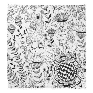 Lenço Teste padrão do doodle do pássaro e das flores