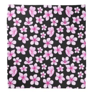 Lenço Teste padrão preto floral da flor de