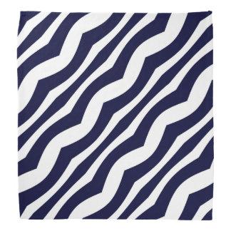 Lenço Teste padrão retro das listras onduladas azuis e