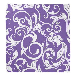 Lenço Teste padrão roxo escuro do papel de parede floral