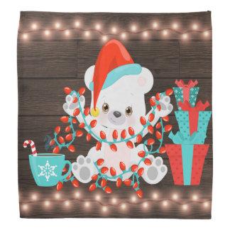 Lenço Urso polar pequeno bonito com luzes de Natal
