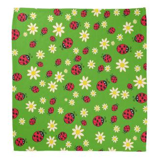 Lenço verde bonito do teste padrão de flor do joaninha e