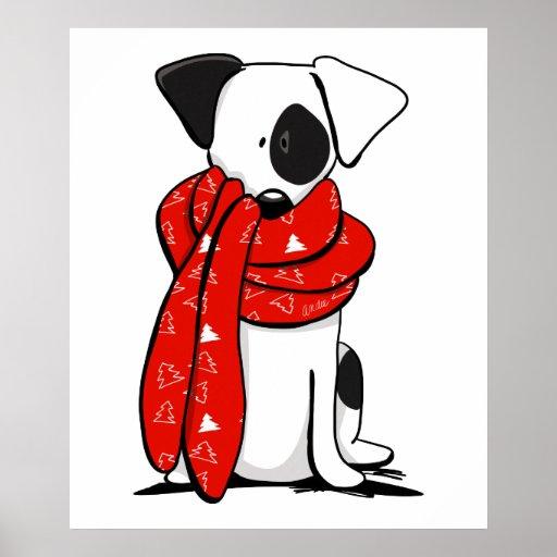 Lenço vermelho moderno de Jack Russell Terrier Poster