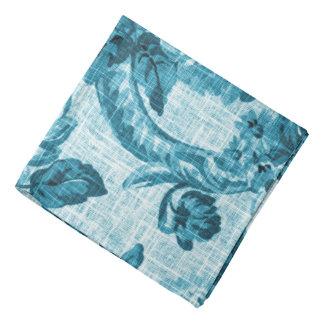 Lenço Vintage azul Toile floral botânico No.4 do Aqua da