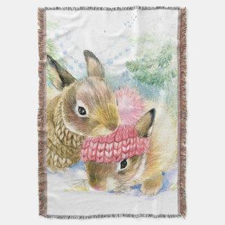 Lençol Aguarela do Natal | - coelhos da floresta do