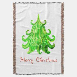 Lençol Árvore de Natal moderna da aguarela