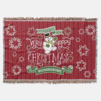 Lençol Bandeira do costume da tipografia do Natal feliz