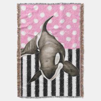 Lençol Bolinhas do rosa da baleia da orca