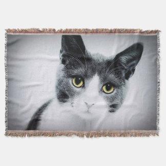 Lençol Cara Photograpy do gato dos olhos verdes