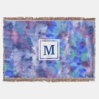 Lençol Cerceta roxa azul pintado à mão abstrata da