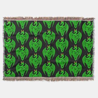 Lençol Cobertura celta verde do lance do dragão