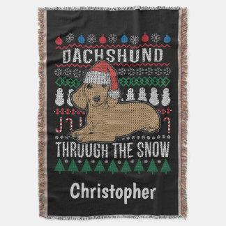 Lençol Dachshund personalizado com o feriado da neve