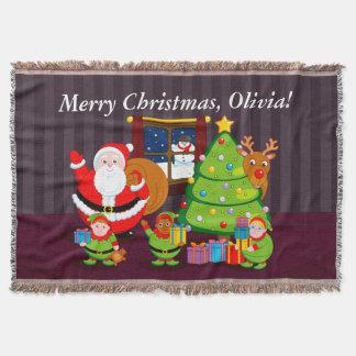 Lençol Desenhos animados de Papai Noel que entregam