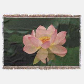 Lençol Jardim verde luxúria Lotus cor-de-rosa macio do