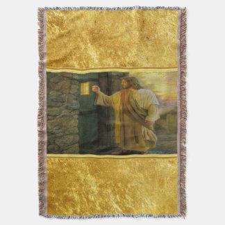 Lençol Jesus em sua porta com um design da folha de ouro