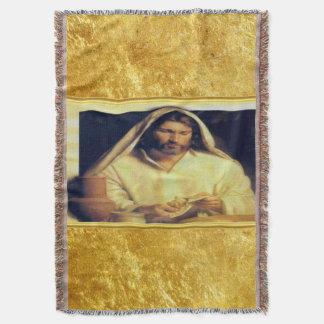Lençol Jesus que quebra o ouro do pão e a textura preta
