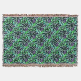 Lençol Pop art abstrato da folha no verde e no roxo de