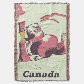 Lençol Poster de viagens do castor do vintage de Canadá