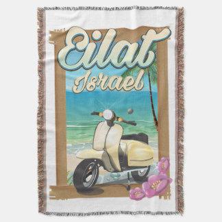 Lençol Poster de viagens do patinete de Israel da praia