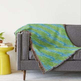 Lençol Teste padrão verde e azul das folhas de palmeira