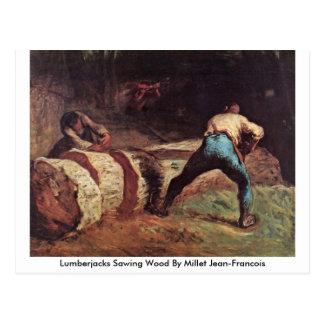 Lenhador que vêem a madeira pelo painço cartão postal