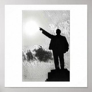 Lenin estilizado que aponta o poster da maneira