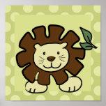 Leo o impressão do quadrado do leão 10x10 no verde