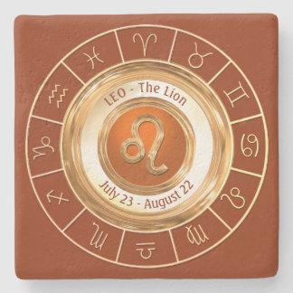 LEO - o símbolo do horóscopo do leão Porta Copos De Pedra
