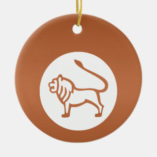 LEO - símbolo do ZODÍACO Ornamento De Cerâmica Redondo