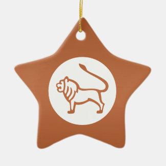 LEO - símbolo do ZODÍACO Ornamento De Cerâmica Estrela