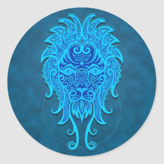 Leo tribal azul intrincado adesivo redondo