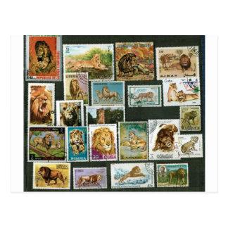 Leões em selos cartão postal