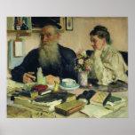 Léon Tolstói com sua esposa em Yasnaya Polyana Poster