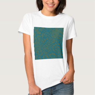 Leopardo azul do Cetim-olhar Camisetas