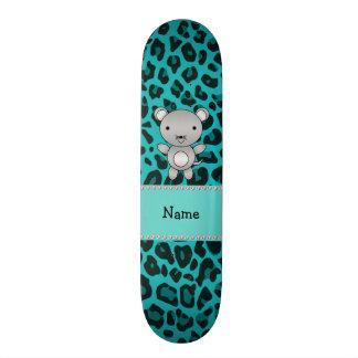 Leopardo conhecido personalizado de turquesa do ra shape de skate 18,1cm