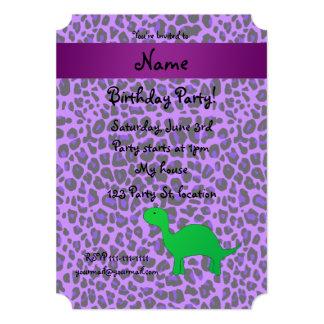 Leopardo conhecido personalizado do roxo de Dino Convite Personalizado