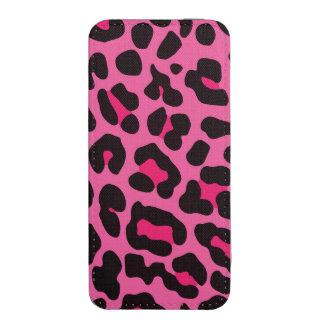 Leopardo cor-de-rosa feminino bolsinha de celular