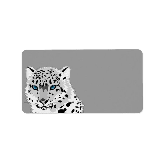 Leopardo de neve animado etiqueta de endereço