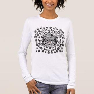 Leopardo de neve camiseta manga longa