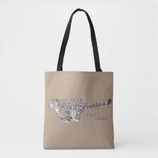 Leopardo de neve que funciona tudo sobre - imprima bolsa tote