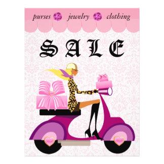 Leopardo do damasco do rosa da mulher do patinete  modelo de panfletos