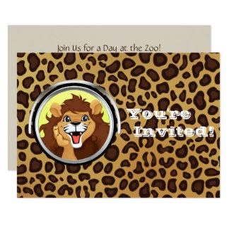 Leopardo do leão do safari de selva da festa de convite 12.7 x 17.78cm