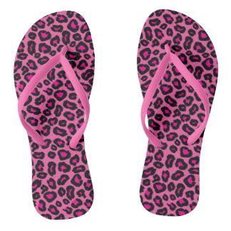 Leopardo do rosa quente chinelos