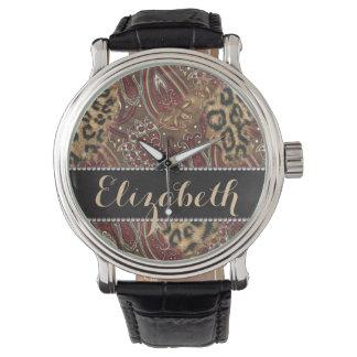 Leopardo e impressão do teste padrão de Paisley a Relógio De Pulso