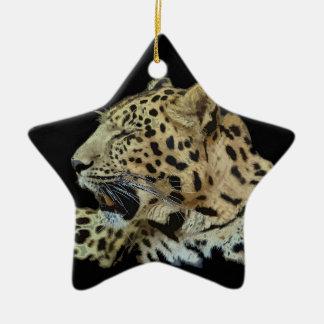 Leopardo Ornamento De Cerâmica Estrela