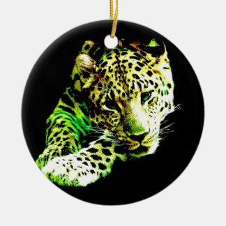 Leopardo Ornamento De Cerâmica Redondo