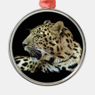 Leopardo Ornamento Redondo Cor Prata