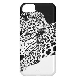 Leopardo preto & branco capa para iPhone 5C
